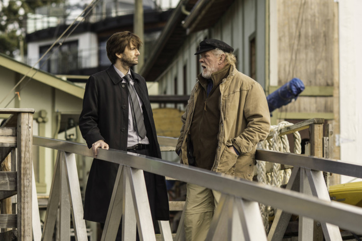 """GRACEPOINT: Detective Emmett Carver (David Tennant, L) questions Jack Reinhold (Nick Nolte, R) in """"Episode Two"""" of GRACEPOINT airing Thursday, Oct. 9 (9:00-10:00 PM ET/PT) on FOX. ?2014 Fox Broadcasting Co. Cr: Ed Araquel/FOX"""