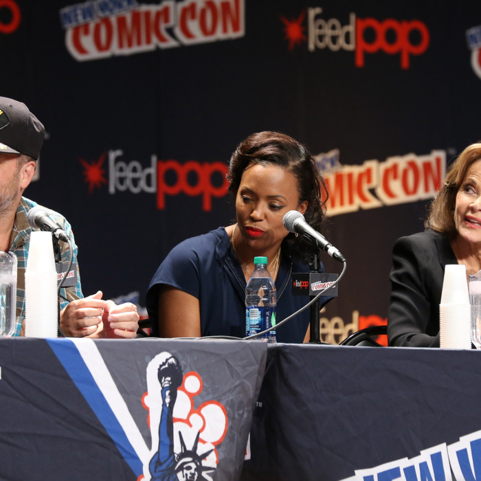 NEW YORK, NY - OCTOBER 10: (L-R) H. Jon Benjamin, Aisha Taylor and Jesica Walter speak during the 'Archer' panel at the 2014 New York Comic Con at Jacob Javitz Center on October 10, 2014 in New York City. (Photo by Neilson Barnard/Getty Images)