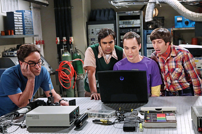 """""""The Focus Attentuation"""" -- The guys try to invent something cool, but only come up with new ways to procrastinate, on THE BIG BANG THEORY, Monday, Oct. 13 (8:00-8:31, ET/PT), on the CBS Television Network. Pictured left to right: Johnny Galecki, Kunal Nayyar, Jim Parsons and Simon Helberg Photo: Michael Yarish/Warner Bros. Entertainment Inc. ?'?? 2014 WBEI. All rights reserved."""