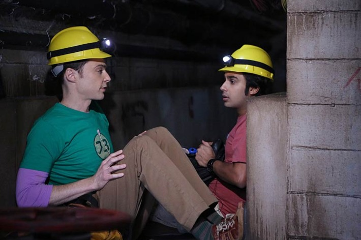 """""""The Expedition Approximation"""" -- Sheldon (Jim Parsons, left) and Raj (Kunal Nayyar, right) test whether they could survive a dark-matter research expedition in a salt mine by simulating the conditions in a steam tunnel, on THE BIG BANG THEORY, Monday, Oct. 20."""
