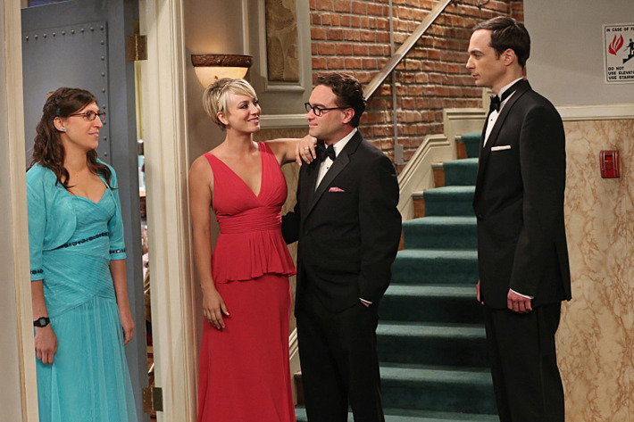 """The Prom Equivalency"" -- When the gang recreates a high school prom on the roof the of the guys\' apartment building, Sheldon feels pressure to participate in all the typical romantic traditions, on THE BIG BANG THEORY, Thursday, Nov. 6 (8:00-8:31 PM, ET/PT), on the CBS Television Network. Pictured left to right: Mayim Bialik, Kaley Cuoco-Sweeting, Johnny Galecki and Jim Parsons Photo: Michael Yarish/Warner Bros. Entertainment Inc. ?'?? 2014 WBEI. All rights reserved."