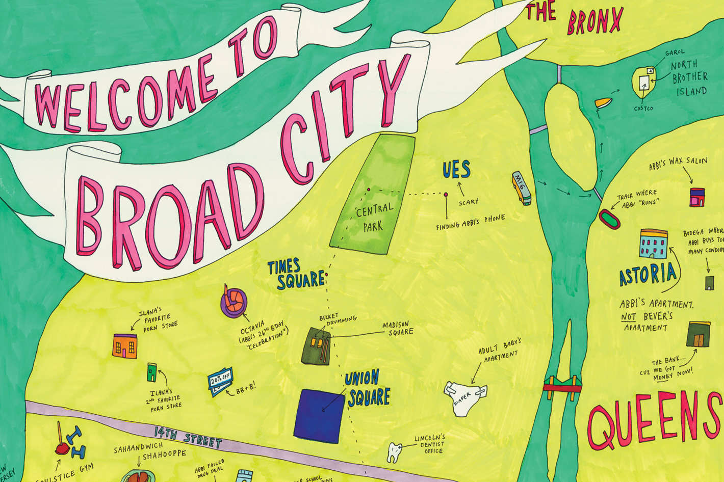 Astoria Nyc Map.See A Map Of Broad City Drawn By Star Abbi Jacobson