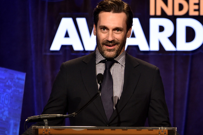 NEW YORK, NY - DECEMBER 01:  Jon Hamm speaks onstage at IFP's 24th Gotham Independent Film Awards at Cipriani, Wall Street on December 1, 2014 in New York City.  (Photo by Theo Wargo/Getty Images for IFP)