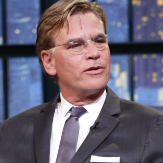 LATE NIGHT WITH SETH MEYERS -- Episode 0127 -- Pictured: (l-r) Producer Aaron Sorkin during an interview with host Seth Meyers on November 13, 2014 -- (Photo by: Lloyd Bishop/NBC/NBCU Photo Bank)