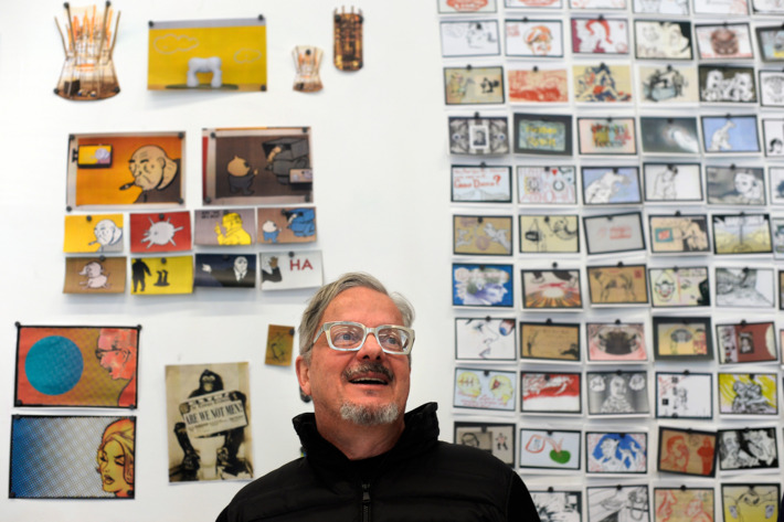 The Museum of Contemporary Art in Denver is beginning preparations for it's upcoming show of the artwork of Mark Mothersbaugh, the founder and leader of the band DEVO. Mothersbaugh and Adam Lerner curator, not in photo,  gathered at the museum on Tuesday, February 5, 2014 as they worked on the layout and flow of the exhibit, which will open October 31, 2014.