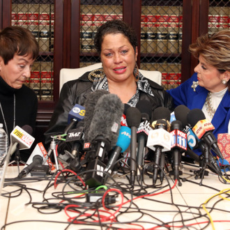 LOS ANGELES, CA - DECEMBER 03: Attorney Gloria Allred (R) speaks at a press conference with Chelan (C) and Helen Hayes (L), alleged victims of Bill Cosby, on December 3, 2014 in Los Angeles, California. Cosby has been accused of sexual assault by approximately 20 women. (Photo by Frederick M. Brown/Getty Images)