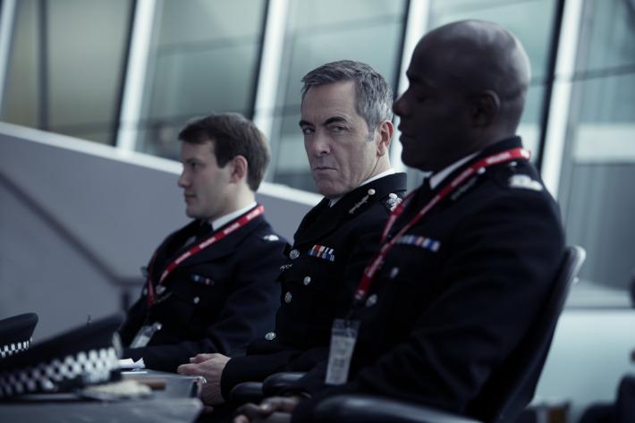 "L to R, Jonny Sweet, James Nesbitt and Paterson Joseph - in the SundanceTV original series ""Babylon"" - Photo Credit: Dean Rogers"