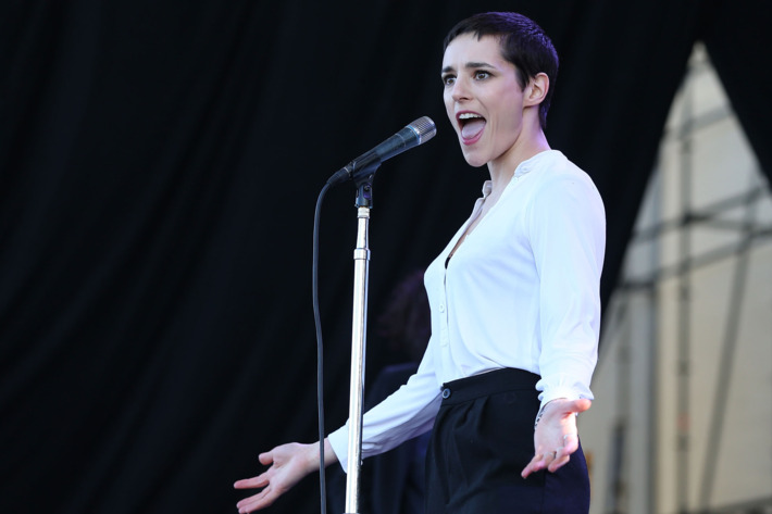 AUCKLAND, NEW ZEALAND - JANUARY 27:  Lead singer Jehnny Beth of London based band Savages performs live on stage during the Laneway Festival on January 27, 2014 in Auckland, New Zealand.  (Photo by Fiona Goodall/Getty Images)