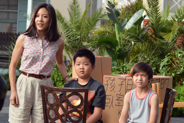 "FRESH OFF THE BOAT - ""Pilot"" -- It's 1995 and 11-year-old hip-hop loving Eddie Huang has just moved with his family from Chinatown in Washington D.C. to suburban Orlando. They quickly discover things are very different there. Orlando doesn't even have a Chinatown -- unless you count the Huang house, on ABC's new comedy series ""Fresh Off the Boat,"" airing in a special preview WEDNESDAY, FEBRUARY 4, (8:30-9:00 p.m., ET) on the ABC Television Network. The series is inspired by the best-selling memoir by Eddie Huang of the same name. (ABC/Eric McCandless)CONSTANCE WU, HUDSON YANG, FORREST WHEELER"