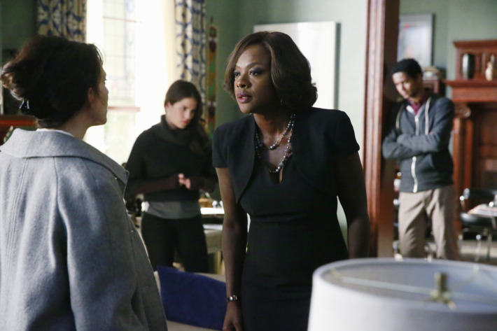 """HOW TO GET AWAY WITH MURDER - """"Best Christmas Ever"""" - School is back in session after the holiday break and the entire university is talking about Annalise's missing husband. The Keating Five continue to be questioned by the police and we find out exactly how they've been dealing with the guilt of killing Sam. Meanwhile, Annalise tries to keep things business as usual by taking on a new client who is in the mob, but Hannah (Marcia Gay Harden) continues to pressure her for answers, on """"How to Get Away with Murder,"""" THURSDAY FEBRUARY 5 (10:00-11:00 p.m., ET) on the ABC Television Network. (ABC/Mitch Haaseth)JACKIE GEARY, KARLA SOUZA, VIOLA DAVIS, ALFRED ENOCH"""