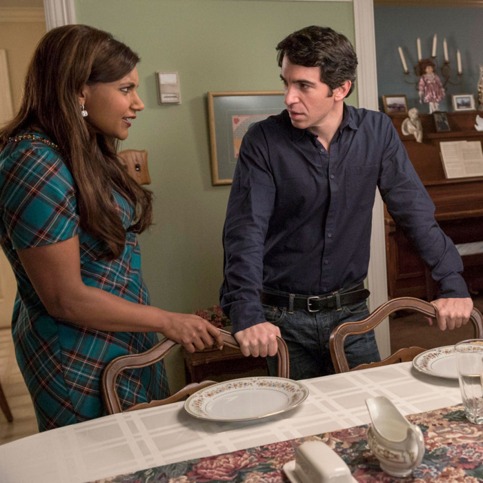 THE MINDY PROJECT: L-R: Mindy (Mindy Kaling), Danny (Chris Messina) and Annette (guest star Rhea Pearlman) prepare for a family dinner in the