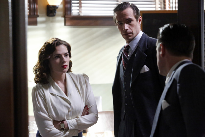"MARVEL'S AGENT CARTER - ""Snafu"" - Peggy is cornered and more vulnerable than ever as Leviathan makes their move against her. As the SSR zeroes in on Howard Stark, they may pay the ultimate price as they find their true enemy is closer than they realized on ""Marvel's Agent Carter,"" TUESDAY, FEBRUARY 17 (9:00-10:00 p.m., ET) on the ABC Television Network. (ABC/Kelsey McNeal)HAYLEY ATWELL, JAMES D'ARCY"