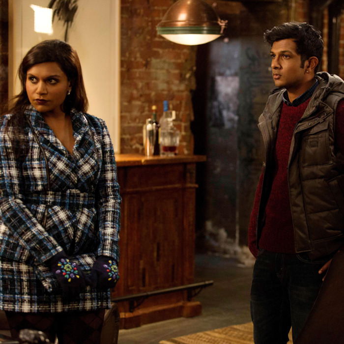 THE MINDY PROJECT: Mindy (Mindy Kaling, L) attends a meeting with Rishi (guest star Utkarsh Ambudkar, R) in the