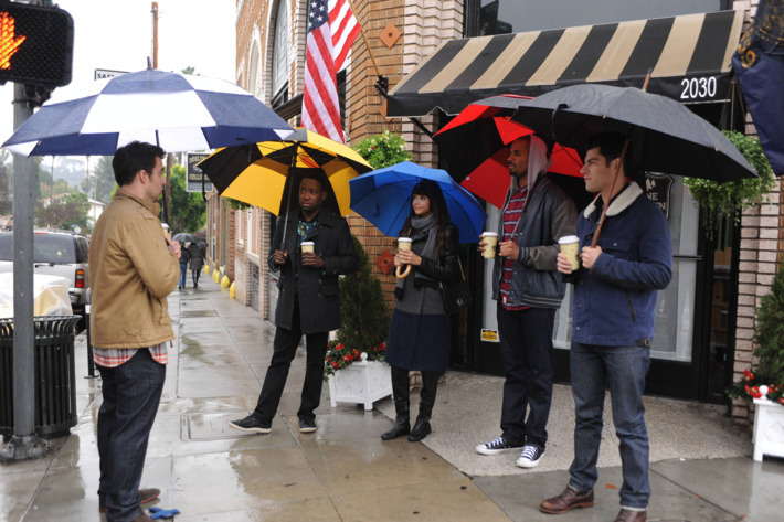 """NEW GIRL: Nick (Jake Johnson, L) and the gang (Lamorne Morris, Hannah Simone, Damon Wayans, Jr. and Max Greenfield) travel to Jess's childhood home in Portland, Oregon for her father's wedding in the """"Oregon"""" episode of NEW GIRL airing Tuesday, Feb. 17 (9:00-9:30 PM ET/PT) on FOX. ?2015 Fox Broadcasting Co. Cr:  Ray Mickshaw/FOX"""