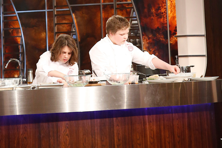 "MASTERCHEF: L-R: Contestants Nathan and Andrew compete for the title of MASTERCHEF JUNIOR in the ""The Finale"" Season Finale episode of MASTERCHEF airing Tuesday, Feb. 24  (8:00-9:00 PM ET/PT) on FOX. CR: Greg Gayne / FOX."