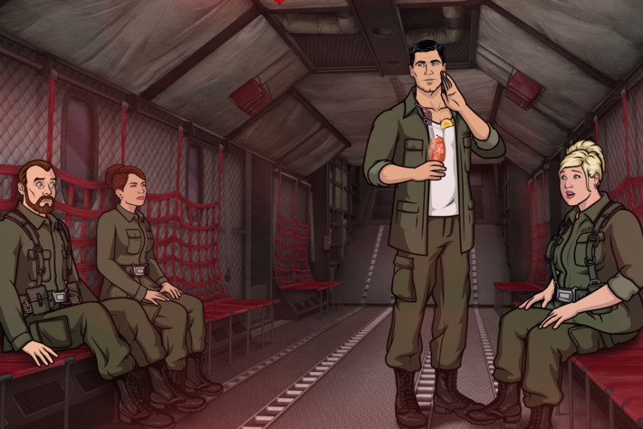"ARCHER: Episode 7, Season 6 ""Nellis"" (Airing Thursday, February 19, 10:00 PM e/p) A rescue mission turns into an out-of-this-world visit to Area 51. Pictured: (L-R) Dr. Krieger (voice of Lucky Yates), Cheryl Tunt (voice of Judy Greer),  Sterling Archer (voice of H. Jon Benjamin), Pam Poovey (voice of Amber Nash)."