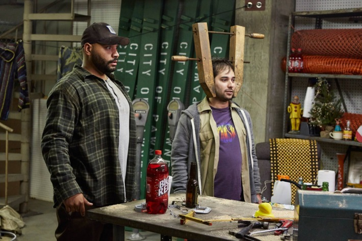 """PARKS AND RECREATION -- """"Pie-mary"""" Episode 708 -- Pictured: (l-r) Colton Dunn as Brett, Harris Wittels as Harris -- (Photo by: Ben Cohen/NBC/NBCU Photo Bank via Getty Images)"""