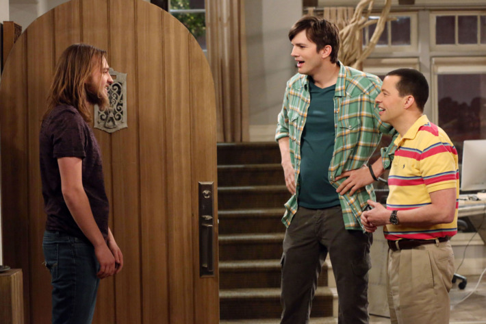 """""""Of Course He\'s Dead -- Part One and Part Two"""" -- Charlie Harper is alive. Or is he? The cast tapes the one-hour series finale of TWO AND A HALF MEN, to be broadcast Thursday, Feb. 19 (9:00-10:00PM, ET/PT) on the CBS Television Network. Surprise guest stars will appear in the conclusion of the successful comedy\'s 12th and final season. Pictured L-R: Angus T. Jones as Jake Harper, Ashton Kutcher as Walden Schmidt, and Jon Cryer as Alan Harper Photo: Michael Yarish/Warner Bros. Entertainment Inc. ?'??2015 WBEI. All rights reserved"""