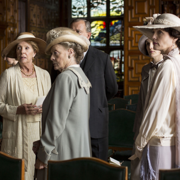 Downton Abbey Season 5 on MASTERPIECE on PBSPart EightSunday, February 22, 2015 at 9pm ETSomeone tries to derail Rose and Atticus's happiness. Mrs. Patmore gets a surprise. Anna isin trouble. Robert has a revelation.Shown from left to right: Allen Leech as Tom Branson, Penelope Wilton as Isobel Crawley, Maggie Smith as Violet, Dowager Countess of Grantham, and Elizabeth McGovern as Cora, Countess of Grantham(C) Nick Briggs/Carnival Films 2014 for MASTERPIECEThis image may be used only in the direct promotion of MASTERPIECE CLASSIC. No other rights are granted. All rights are reserved. Editorial use only. USE ON THIRD PARTY SITES SUCH AS FACEBOOK AND TWITTER IS NOT ALLOWED.