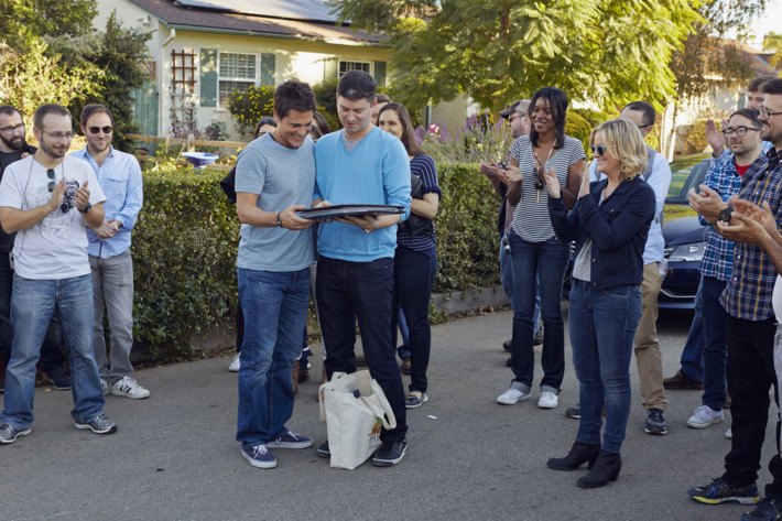 """PARKS AND RECREATION -- """"Ann & Chris"""" Episode 613 -- Pictured: (l-r) Rob Lowe as Chris Traeger, Michael Schur (Executive Producer), Amy Poehler as Leslie Knope, Dean Holland (Executive Producer) -- (Photo by: Ben Cohen/NBC/NBCU Photo Bank)"""