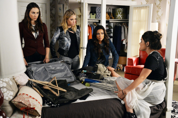 """PRETTY LITTLE LIARS - """"Bloody Hell"""" - The girls' actions create a devastating aftershock for one of the Liars in """"Bloody Hell,"""" an all-new episode of ABC Family's hit original series """"Pretty Little Liars,"""" premiering Tuesday, February 24th (8:00 – 9:00 PM ET/PT). (ABC Family/Eric McCandless)TROIAN BELLISARIO, ASHLEY BENSON, SHAY MITCHELL, LUCY HALE"""