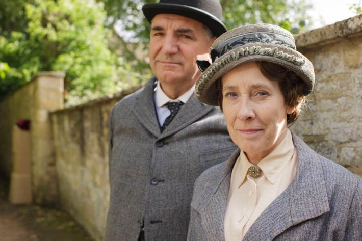 Downton Abbey Season 5 on MASTERPIECE on PBSPart EightSunday, February 22, 2015 at 9pm ETSomeone tries to derail Rose and Atticus's happiness. Mrs. Patmore gets a surprise. Anna isin trouble. Robert has a revelation.Shown from left to right: Jim Carter as Mr. Carson and Phyllis Logan as Mrs. Hughes(C) Nick Briggs/Carnival Films 2014 for MASTERPIECEThis image may be used only in the direct promotion of MASTERPIECE CLASSIC. No other rights are granted. All rights are reserved. Editorial use only. USE ON THIRD PARTY SITES SUCH AS FACEBOOK AND TWITTER IS NOT ALLOWED.