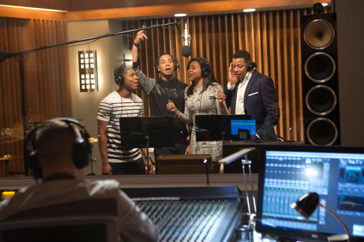 """EMPIRE: The Lyon family comes together to record a legacy album in the """"The Lyon's Roar"""" episode of EMPIRE airing Wednesday, Feb. 25 (9:01-10:00 PM ET/PT) on FOX. Pictured L-R: Bryshere Gray, Jussie Smollett, Taraji P. Henson and Terrence Howard. ?2015 Fox Broadcasting Co CR: Chuck Hodes/FOX"""