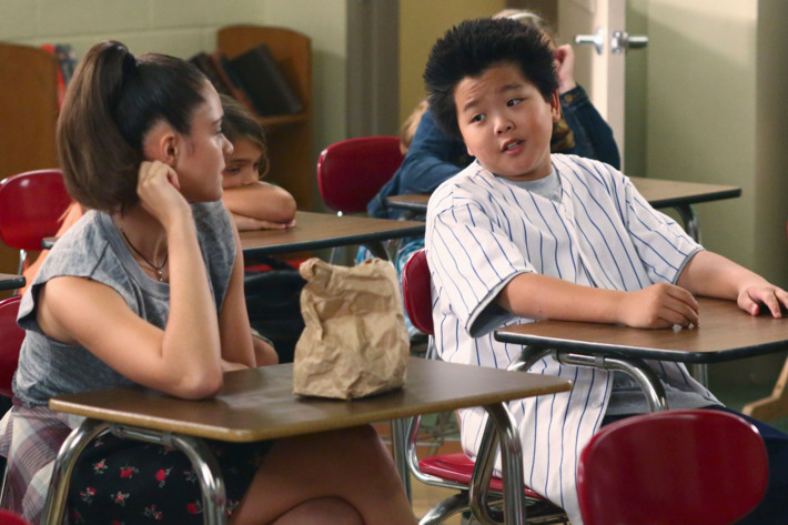 """FRESH OFF THE BOAT - """"License to Sell"""" - Jessica puts off taking the exam for her real estate license because she fears she isn't good enough to compete with Orlando's top realtor. Eddie looks to Louis for advice on how to win over older girl Nicole (guest star Luna Blaise), but puts his own spin on his dad's suggestions, on """"Fresh Off the Boat,"""" TUESDAY, MARCH 24 (8:00-8:30 p.m. ET) on the ABC Television Network. (ABC/Michael Ansell)LUNA BLAISE, HUDSON YANG"""