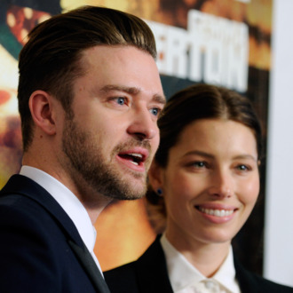 LAS VEGAS, NV - SEPTEMBER 18: Singer/actor Justin Timberlake (L) and his wife, actress Jessica Biel arrive at the world premiere of Twentieth Century Fox and New Regency's film