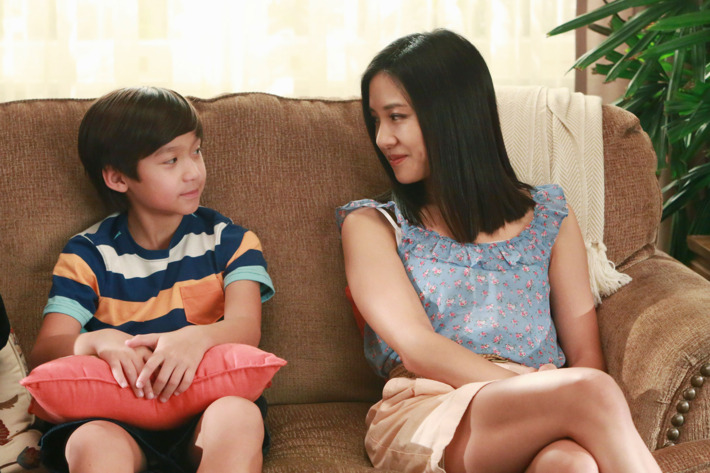 """FRESH OFF THE BOAT - """"Dribbling Tiger, Bounce Pass Dragon"""" - Louis and Jessica get pressured into volunteering at the kids' schools because of budget cuts. Eddie sees a whole other side of his dad when Louis - a former semi-pro basketball player back in Taiwan -- coaches the basketball team, while Emery and Evan see a side of Jessica they wish they hadn't when she grudgingly takes on producing their school play, and puts her own spin on it, on """"Fresh Off the Boat,"""" TUESDAY, APRIL 14 (8:00-8:30 p.m. ET) on the ABC Television Network. (ABC/Ron Tom)FORREST WHEELER, CONSTANCE WU"""