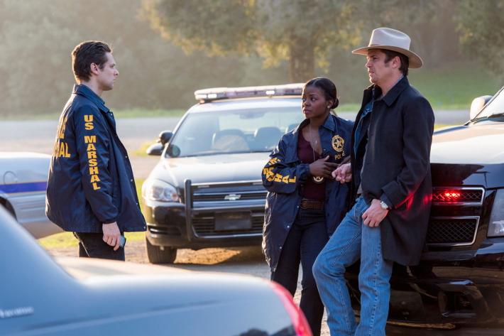 "JUSTIFIED -- ""Promise"" Episode 313 (Airs Tuesday, April 14, 10:00 pm e/p) Pictured (l-r): Jacob Pitts as Deputy U.S. Marshal Tim Gutterson; Erica Tazel as Deputy U.S. Marshal Rachel Brooks; & Timothy Olyphant as Deputy U.S. Marshal Raylan Givens.CR: Prashant Gupta/FX"