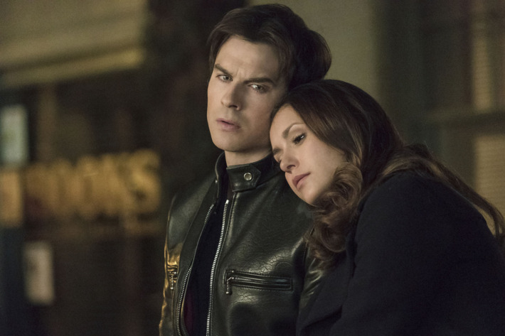 """The Vampire Diaries -- """"I Never Could Love Like That"""" -- Image Number: VD618a_0028.jpg -- Pictured (L-R): Ian Somerhalder as Damon and Nina Dobrev as Elena -- Photo: Tina Rowden/The CW -- ?'?? 2015 The CW Network, LLC. All rights reserved."""