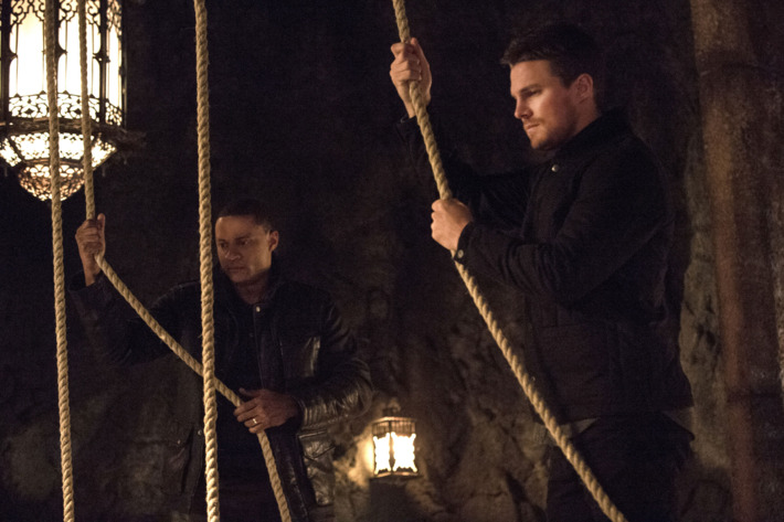 "Arrow -- ""The Fallen"" -- Image AR320A_0161 -- Pictured (L-R): David Ramsey as John Diggle and Stephen Amell as Oliver Queen -- Photo: Cate Cameron/The CW -- ?'?? 2015 The CW Network, LLC. All Rights Reserved."