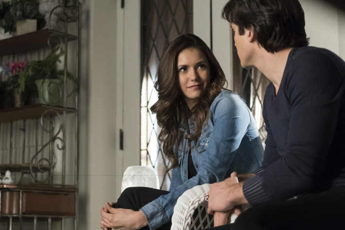 "The Vampire Diaries -- ""Because"" -- Image Number: VD619a_0030.jpg -- Pictured (L-R): Nina Dobrev as Elena and Ian Somerhalder as Damon -- Photo: Tina Rowden/The CW -- ?'?? 2015 The CW Network, LLC. All rights reserved."