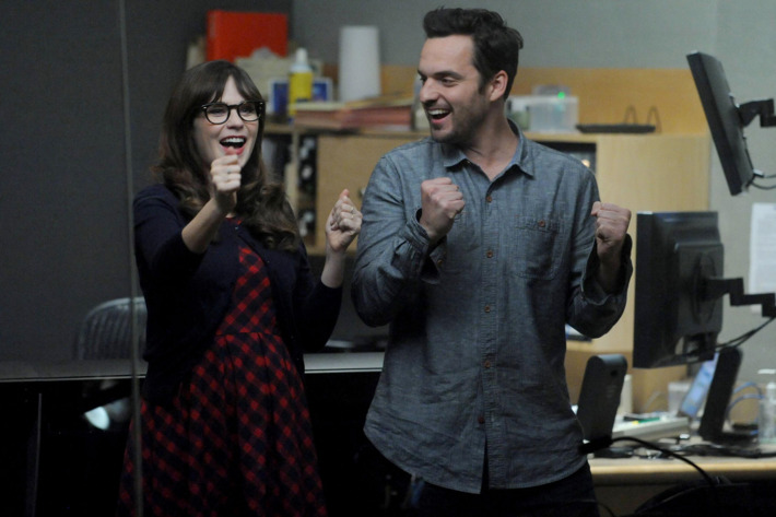 """NEW GIRL:  Jess (Zooey Deschanel, L) and Nick (Jake Johnson, R) are excited when Coach and May reconcile in the """"Panty Gate"""" episode of NEW GIRL airing Tuesday, April 28 (9:00-9:30 PM ET/PT) on FOX.  ?2015 Fox Broadcasting Co.  Cr:  Ray Mickshaw/FOX"""