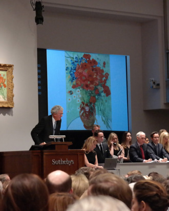 NEW YORK, NY - NOVEMBER 4: A view of an auction in which Alberto Giacometti's Chariot was sold for $101 million and Amadeo Modigliani's T?te sold for $70.7 million at Sotheby's in New York, United States on November 4, 2014. (Photo by Selcuk Acar/Anadolu Agency/Getty Images)