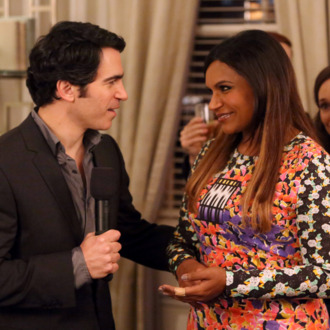 THE MINDY PROJECT: Mindy (Mindy Kaling, R) and Danny (Chris Messina, L) welcome guests to the opening party for Mindy's new fertility clinic in the