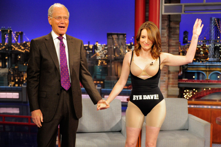 Tina Fey takes off her dress after her last appearance on the CBS Late Show with David Letterman, Thursday May 7, 2015 on the CBS Television Network Photo: John Paul Filo/CBS ?'??2015 CBS Broadcasting Inc. All Rights Reserved