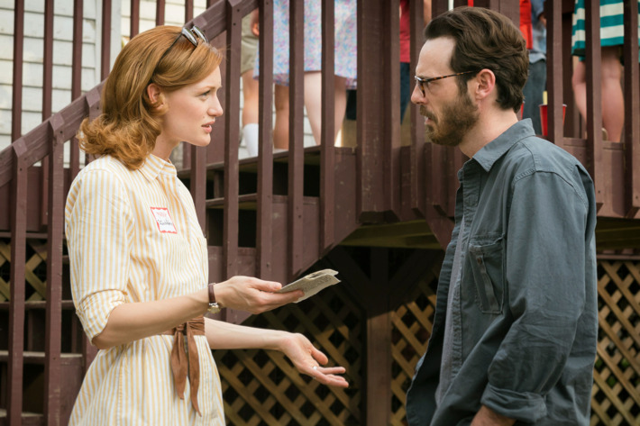 Kerry Bishe as Donna Clark and Scoot McNairy as Gordon Clark - Halt and Catch Fire _ Season 2, Episode 8 - Photo Credit: Tina Rowden/AMC