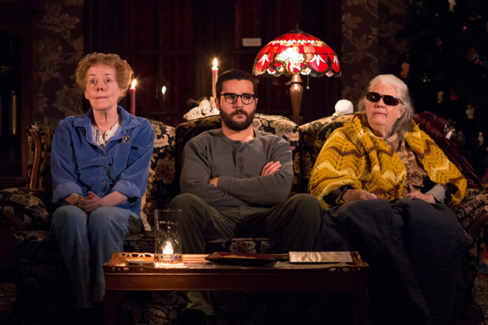 """Signature Theatre presents """"John""""A New Play by Annie Baker; Directed by Sam GoldPictured: Georgia Engel as Mertis Katherine Graven, Christopher Abbott as Elias Schreiber-Hoffman & Lois Smith as Genevieve Marduk"""