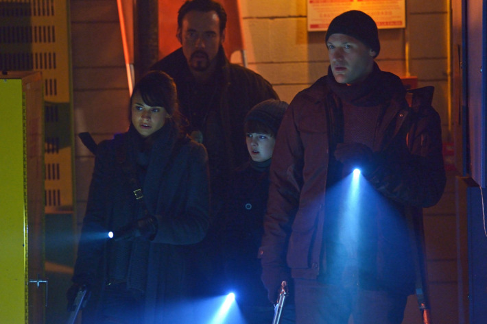 "THE STRAIN -- ""The Battle For Red Hook"" -- Episode 209 (Airs September 6, 10:00 pm e/p) Pictured: (l-r) Mia Maestro as Nora Martinez, Kevin Durand as Vasiliy Fet, Max Charles as Zack Goodweather, Corey Stoll as Ephraim Goodweather. CR: Michael Gibson/FX"