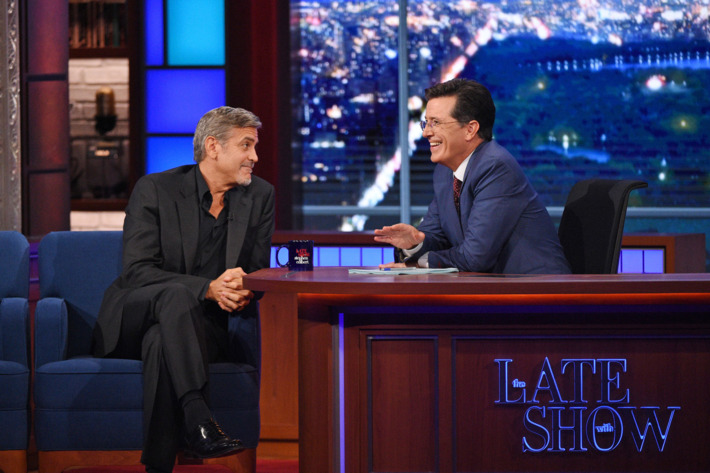 Actor George Clooney chats with Stephen on the premiere of The Late Show with Stephen Colbert, Tuesday Sept. 8, 2015 on the CBS Television Network. Photo: Jeffrey R. Staab/CBS ©2015 CBS Broadcasting Inc. All Rights Reserved