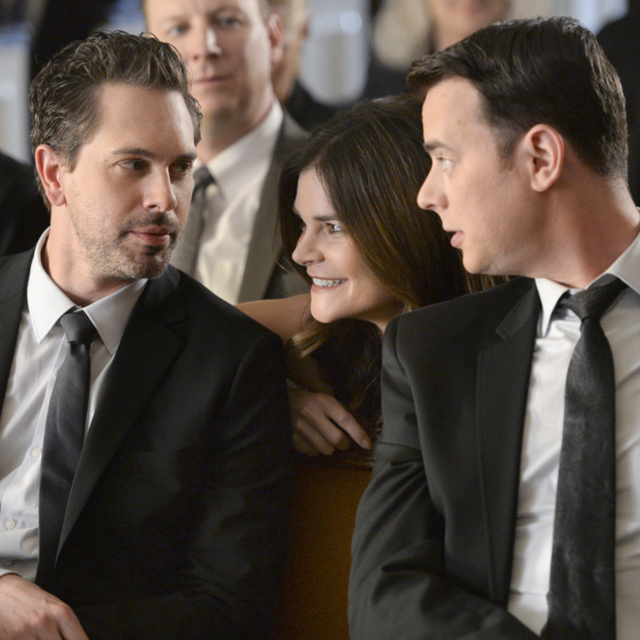 LIFE IN PIECES is CBS\'s new single camera comedy about one big happy family and their sometimes awkward, often hilarious and ultimately beautiful milestone moments as told by its various members. Pictured left to right, Thomas Sadoski as Matt, Betsy Brandt as Heather and Colin Hanks as Greg. Photo: Darren Michaels/CBS ©2015 CBS Broadcasting, Inc. All Rights Reserved