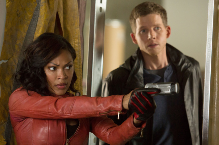 MINORITY REPORT: L-R: Megan Good as Det. Laura Vega and Stark Sands as Dash in MINORITY REPORT airing Monday, Sep. 21 (9:00-10:00 PM ET/PT) on FOX. CR: Bruce MacCauley / FOX. © 2015 FOX Broadcasting.