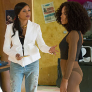 """EMPIRE: Pictured L-R: Bryshere Gray as Hakeem Lyon, Taraji P. Henson and Serayah McNeill as Tiana in the """"Without A Country"""" episode of EMPIRE airing Wednesday, Sept. 30 (9:00-10:00 PM ET/PT) on FOX. ©2015 Fox Broadcasting Co. Cr: Chuck Hodes/FOX."""