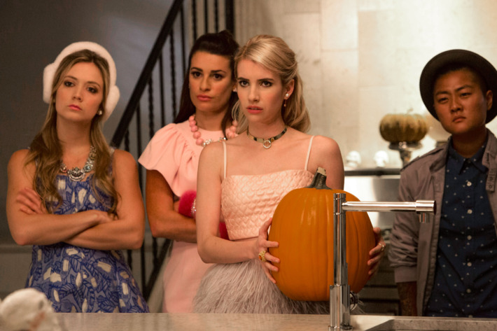 """SCREAM QUEENS: Pictured L-R: Billie Lourd as Chanel #3, Lea Michele as Hester, Emma Roberts as Chanel Oberlin and Jeanna Han as Sam in the """"Haunted House"""" episode of SCREAM QUEENS airing Tuesday, Oct. 6 (9:00-10:00 PM ET/PT) on FOX. ©2015 Fox Broadcasting Co. Cr: Hilary Gayle/FOX."""