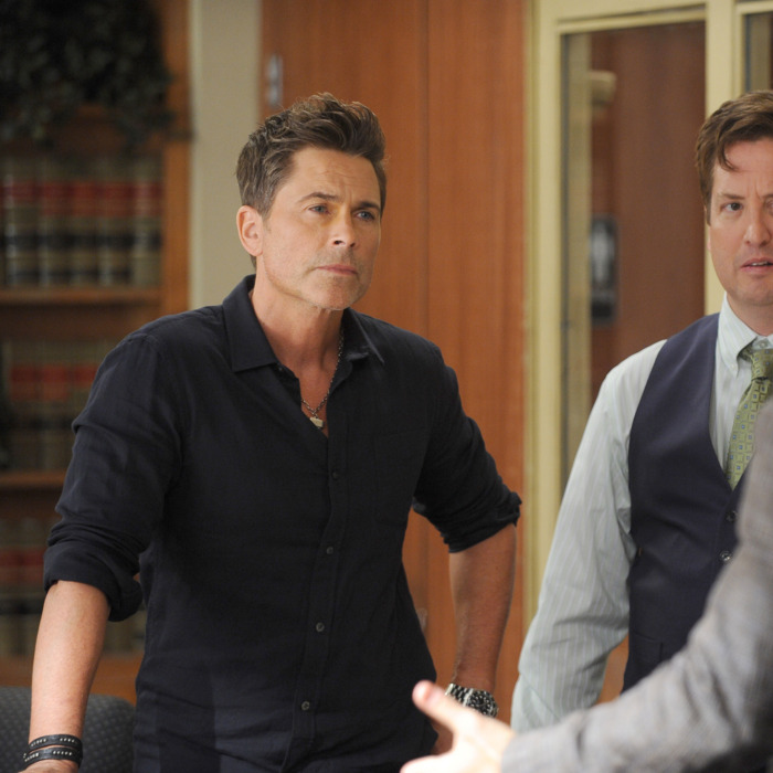 THE GRINDER: L-R: Rob Lowe and guest star Steve Little in the