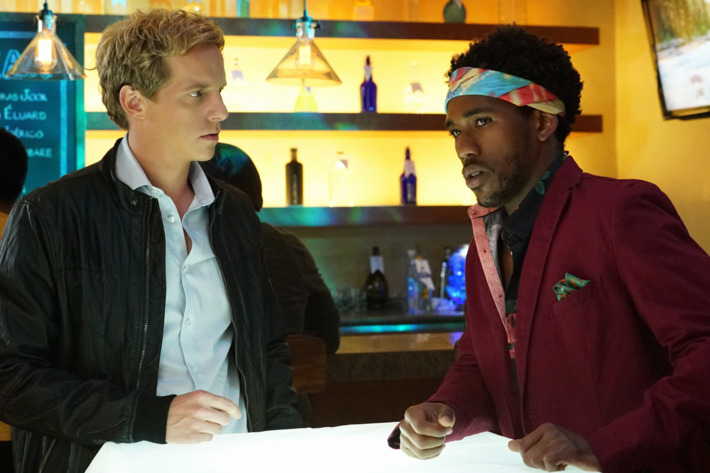 "YOU'RE THE WORST -- ""Side Bitch"" -- Episode 206 (Airs Wednesday, October 14, 10:30 pm e/p Pictured: (l-r) Chris Geere as Jimmy, Brandon Mychal Smith as Sam.CR: Byron Cohen/FX"