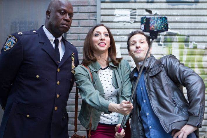 """BROOKLYN NINE-NINE: (L-R) Capt. Holt (Andre Braugher), Gina (Chelsea Peretti) and Jake (Andy Samberg)  in the """"The Oolong Slayer"""" episode of BROOKLYN NINE-NINE airing Sunday, Oct. 18 (8:30-9:00 PM ET/PT) on FOX. ©2015 Fox Broadcasting Co. CR: John P Fleenor/FOX."""
