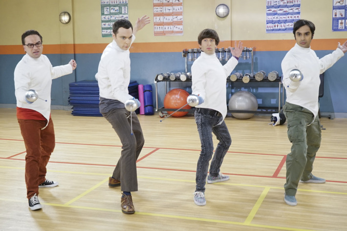 """The Perspiration Implementation"" -- The guys take a fencing lesson from Barry Kripke and Sheldon finds himself in an awkward position when Kripke expresses interest in Amy, on THE BIG BANG THEORY, Monday, Oct. 19 (8:00-8:31 PM, ET/PT), on the CBS Television Network. Pictured left to right: Johnny Galecki, Jim Parsons, Simon Helberg and Kunal Nayyar Photo: Monty Brinton/CBS ©2015 CBS Broadcasting, Inc. All Rights Reserved"